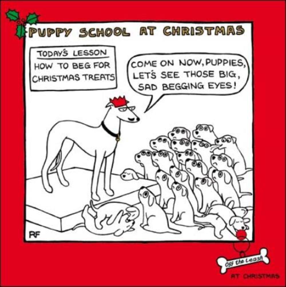 Puppy School Cartoon Dog Humour Christmas Greeting Card