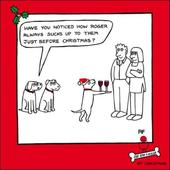Roger Sucks Up Cartoon Dog Humour Christmas Greeting Card