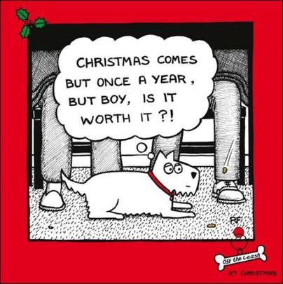 Once A Year Cartoon Dog Humour Christmas Greeting Card