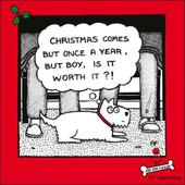 Once A Year Cartoon Dog Humour Christmas Greeting Card