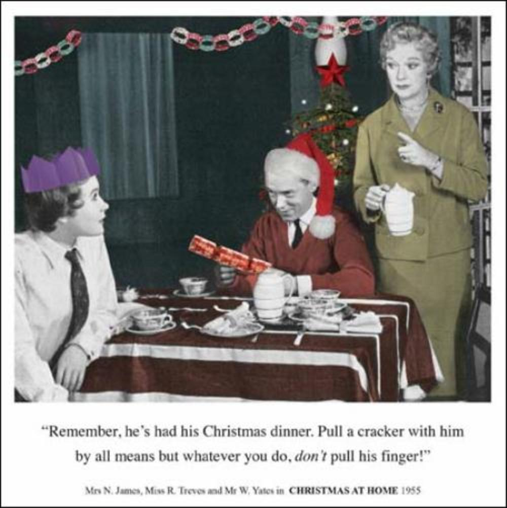Don't Pull His Finger Funny Christmas Greeting Card