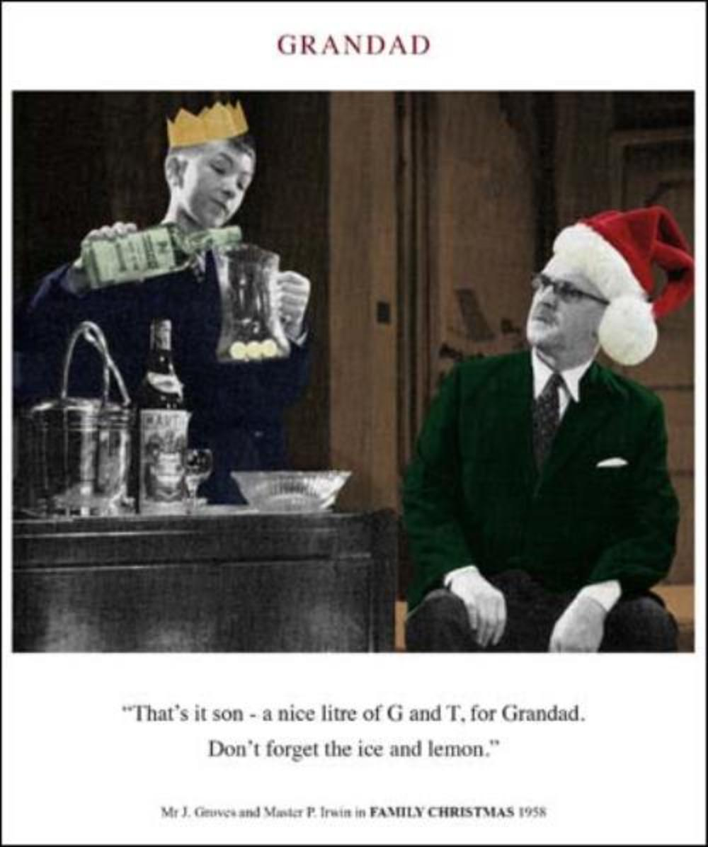 Grandad G&T Funny Christmas Greeting Card