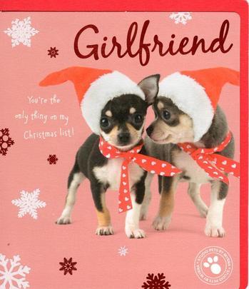 Girlfriend Cute Studio Pets Christmas Greeting Card