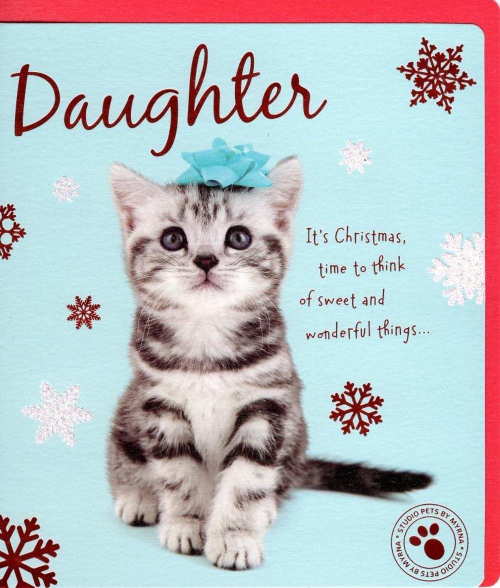 Daughter Cute Studio Pets Christmas Greeting Card