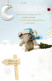 Husband Elliot & Buttons Christmas Greeting Card