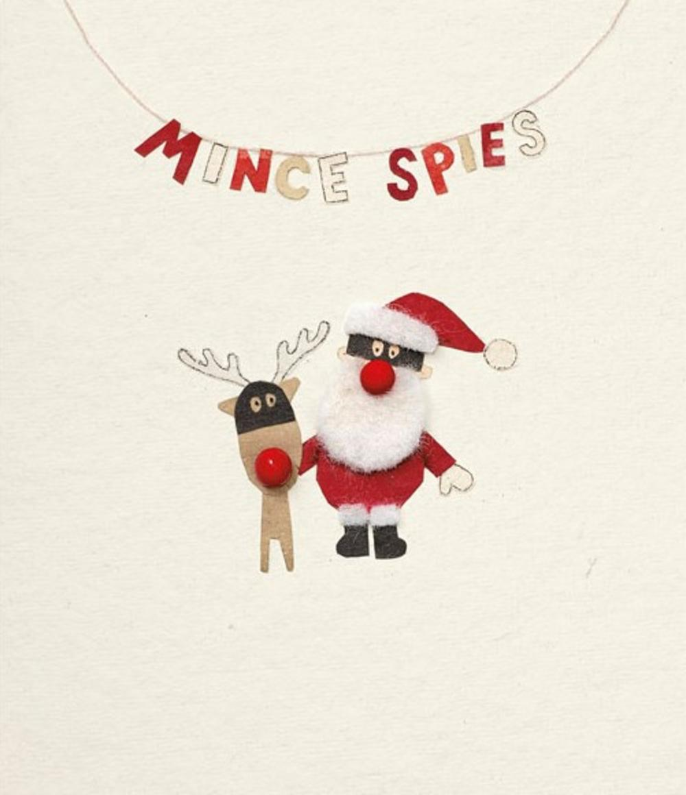 Funny Mince Spies Rooodolf Christmas Greeting Card
