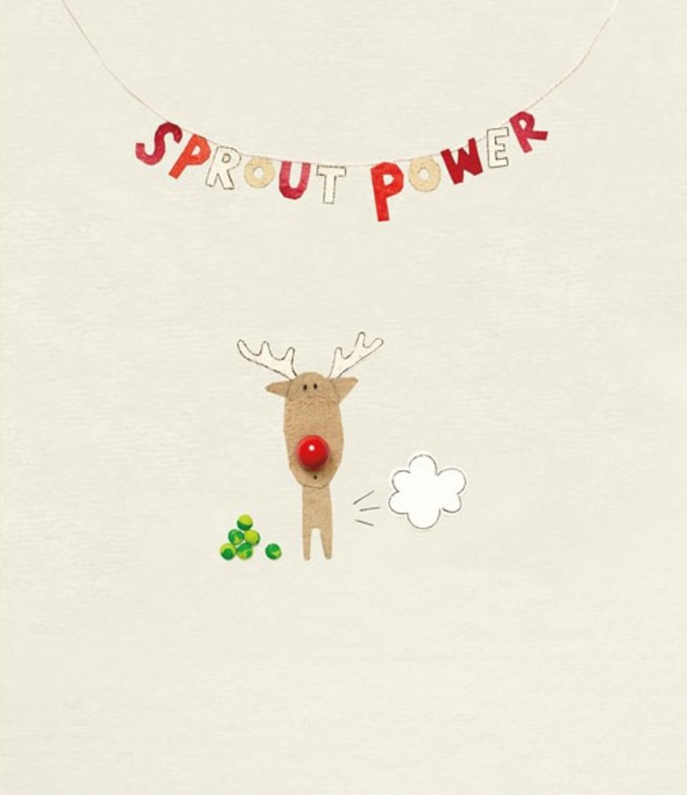 Funny Sprout Power Rooodolf Christmas Greeting Card