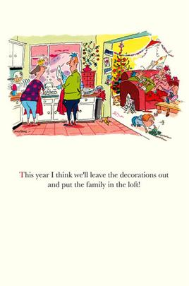 Funny Plonkers Family In Loft Christmas Greeting Card