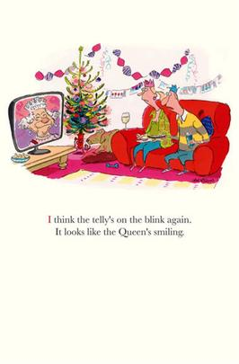 Funny Plonkers Queen's Smiling Christmas Greeting Card