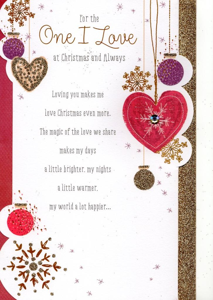 one i love traditional christmas greeting card - Love Christmas Cards