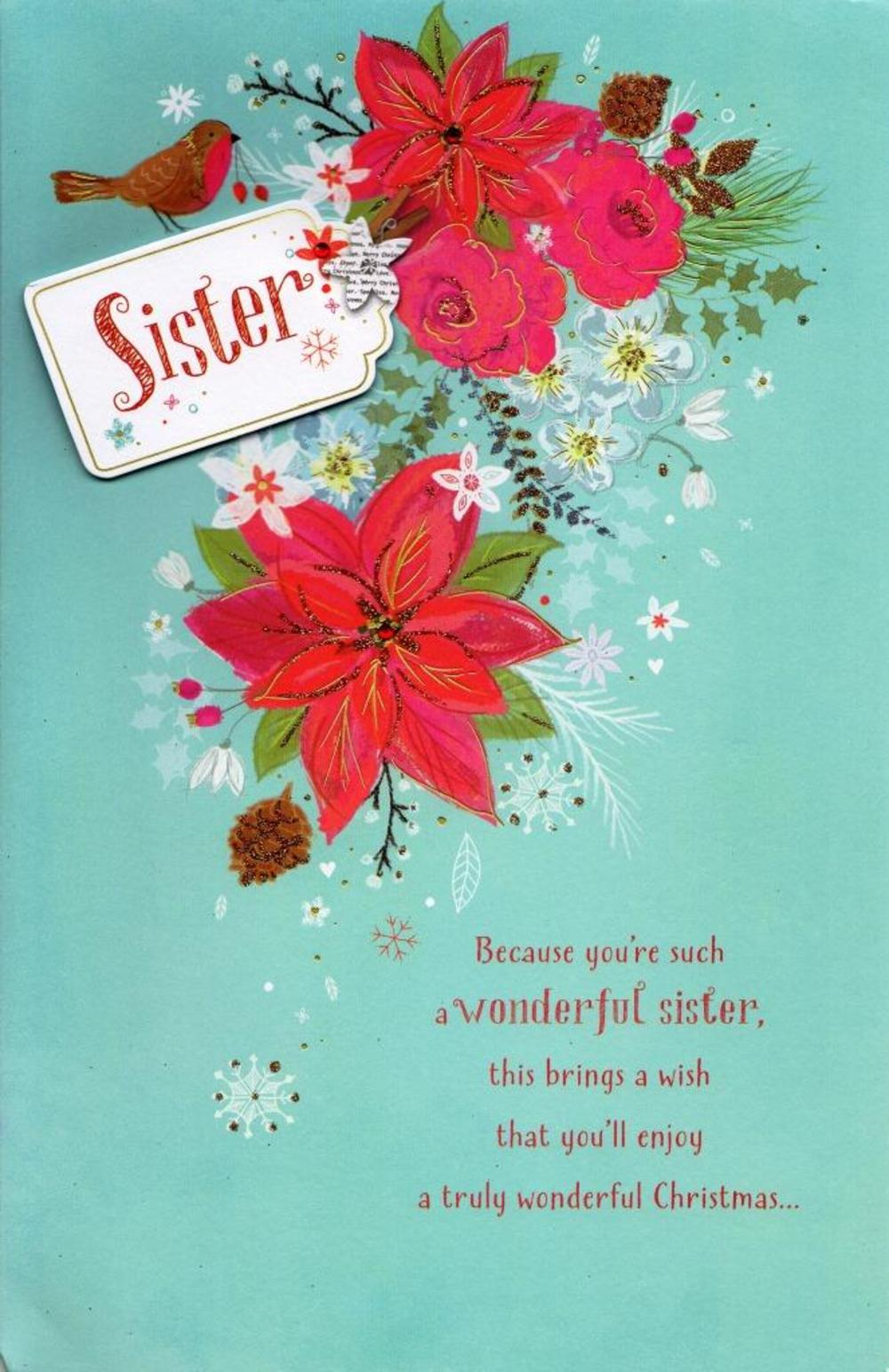 Sister Traditional Christmas Greeting Card Cards Love Kates