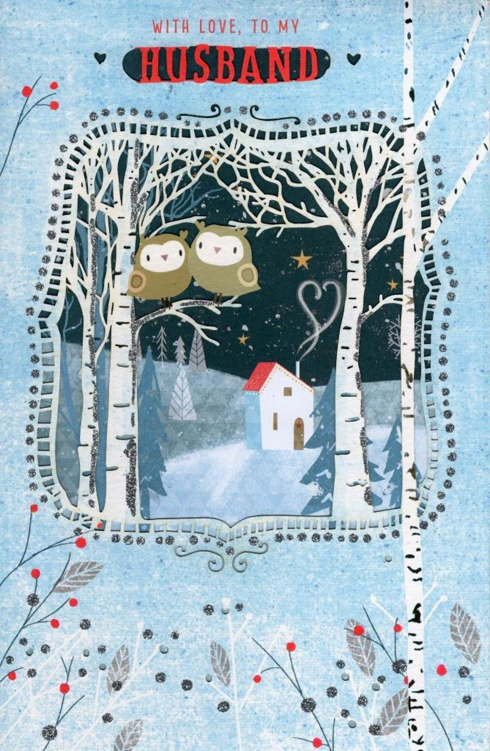 To My Husband Die Cut Christmas Greeting Card