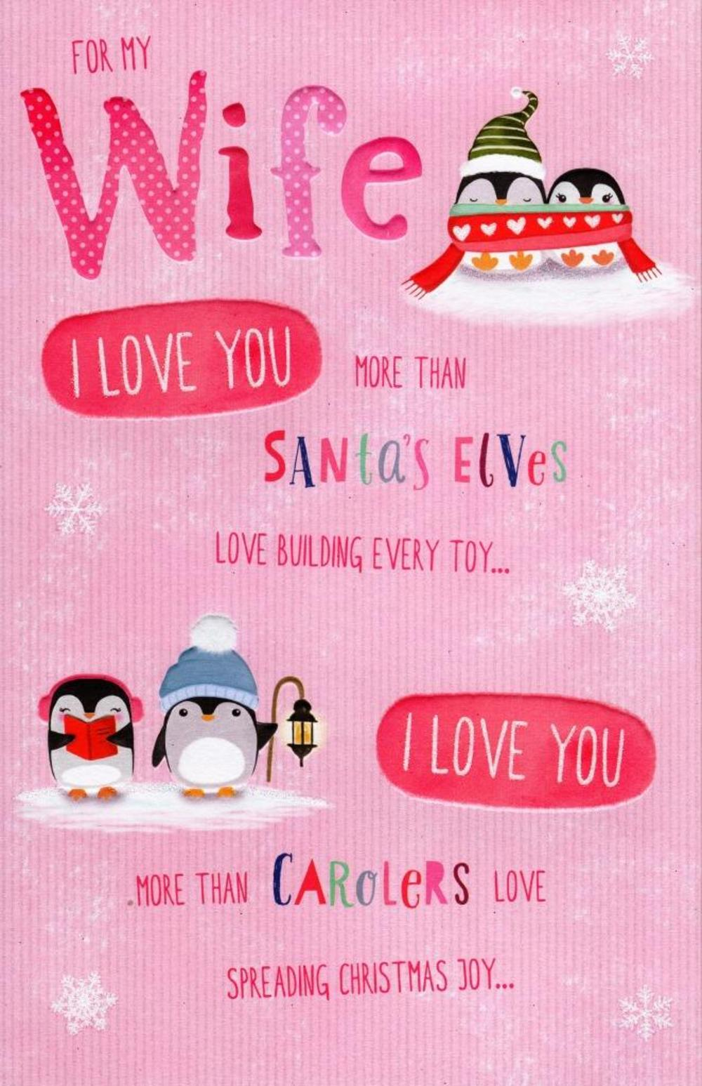 Wife I Love You More... Christmas Greeting Card