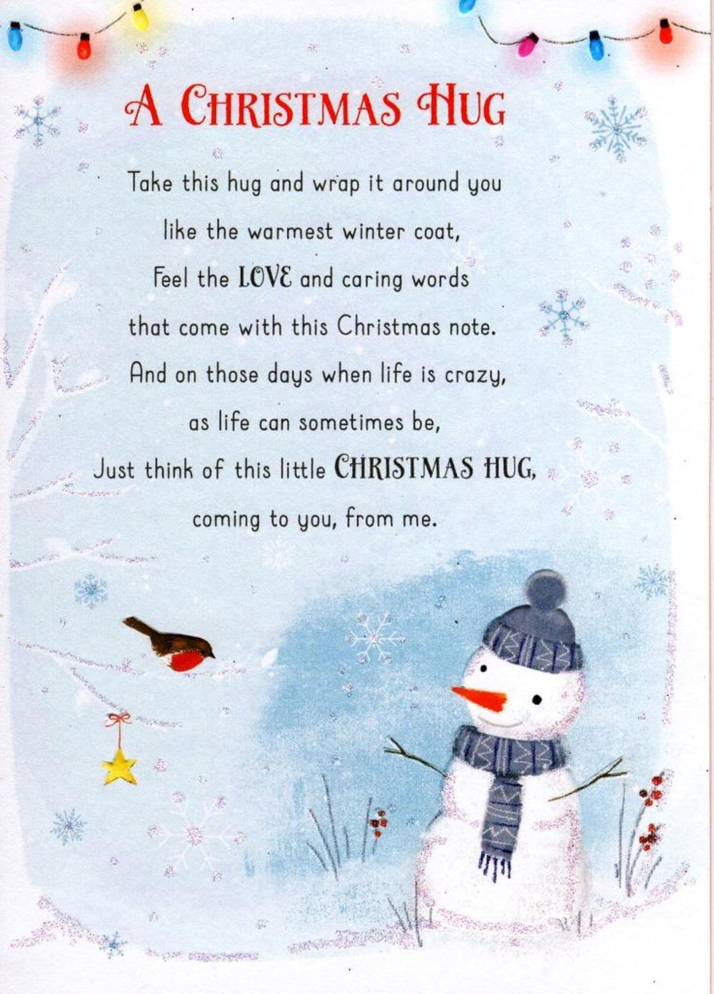 a christmas hug christmas friendship greeting card cards love kates