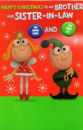 Brother & Sister-In-Law Fairy & Elf Christmas Card With Badges