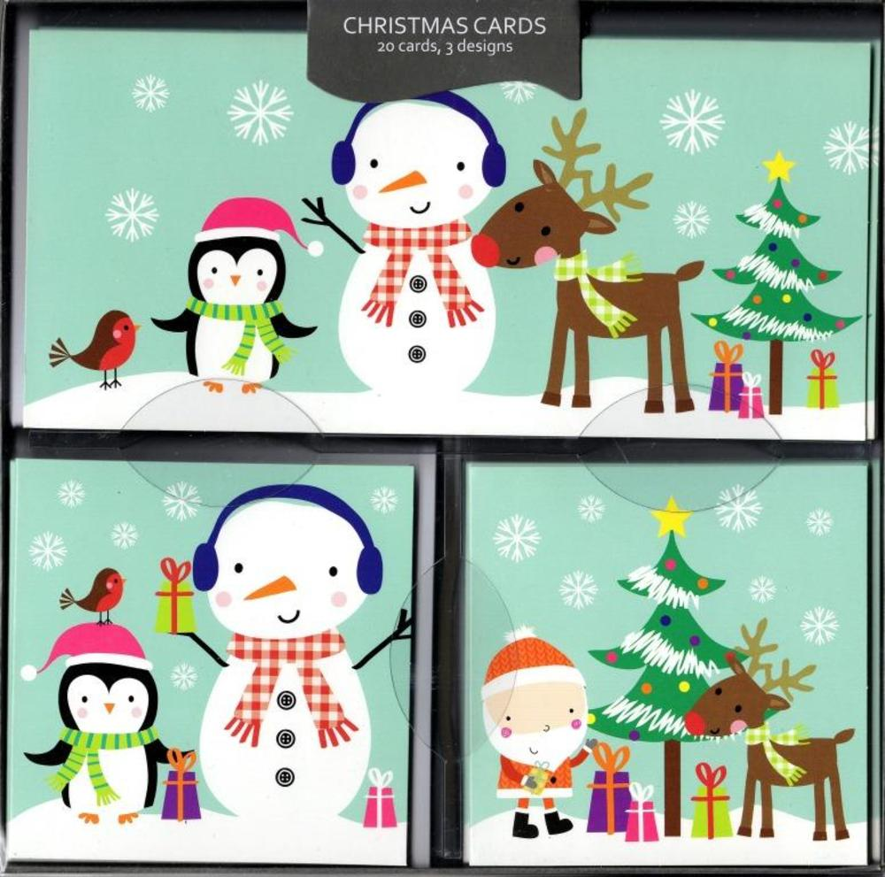 Box of 20 Snowman Themed Assorted Christmas Cards