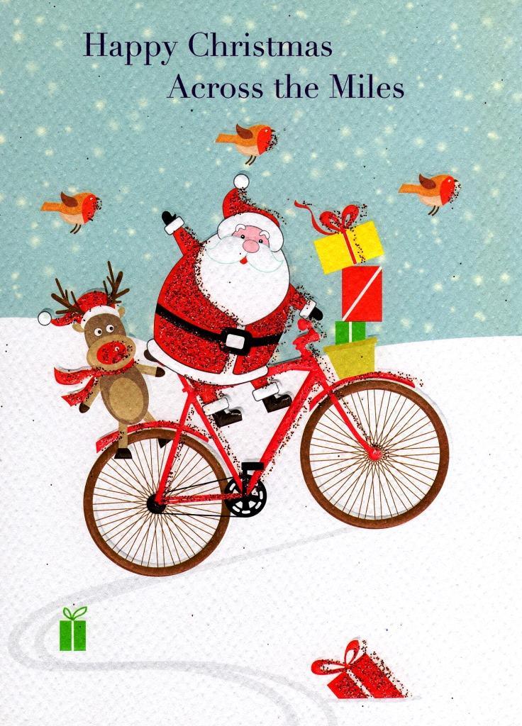 happy christmas across the miles xmas card  cards  love