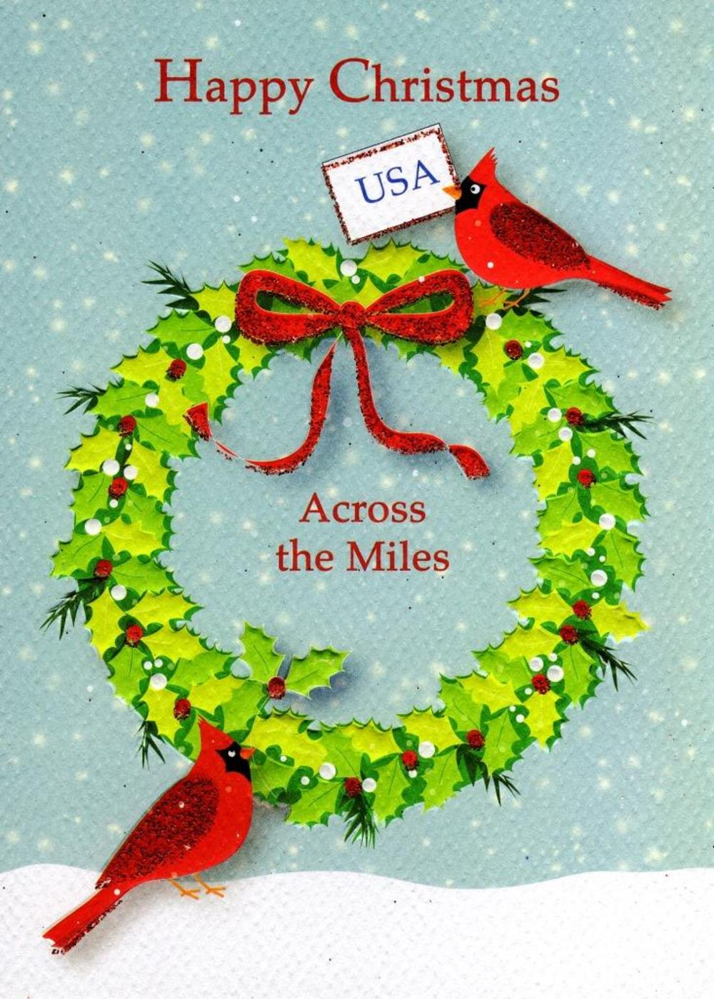 Happy Christmas USA Across The Miles Xmas Card