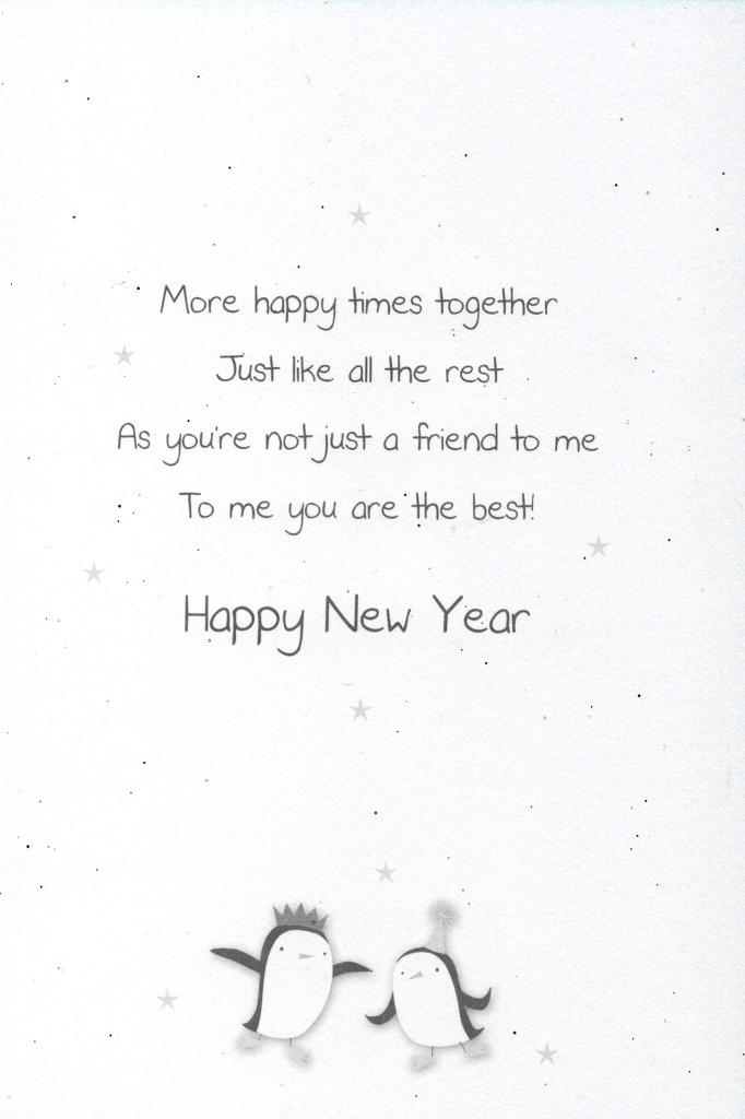 Happy New Year Best Friend Greeting Card Glitter Finished New Years