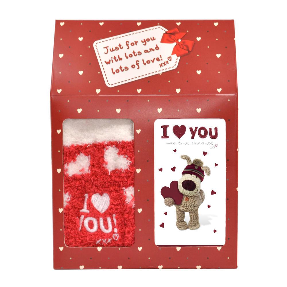 Boofle I Love You Fluffy Socks & Chocolate Gift Set