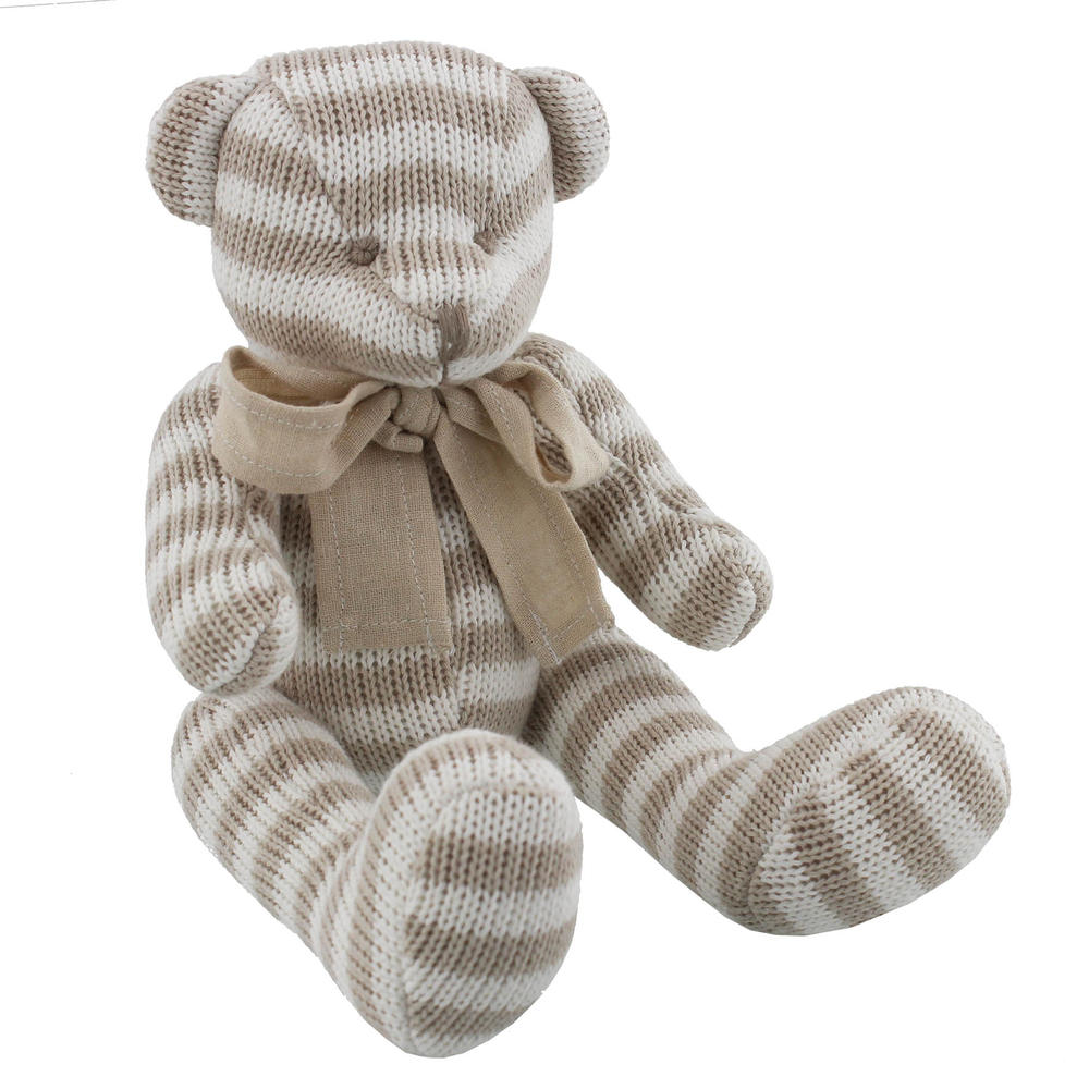 Bambino Cotton Knitted Stripe Small Teddy Bear
