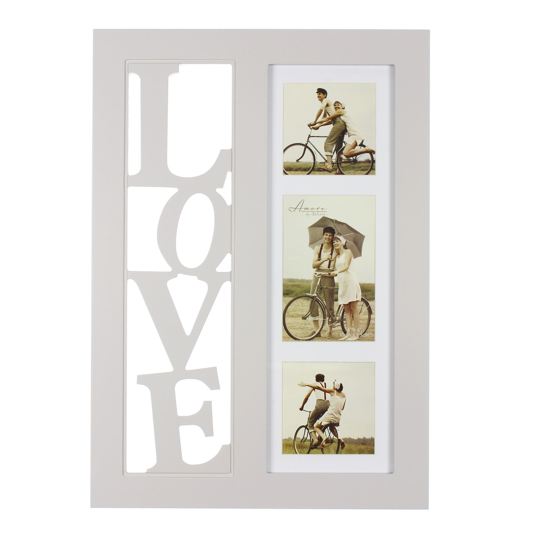Amore Triple Collage Photo Frame In Grey 3D Cut Out Letters | Gifts ...