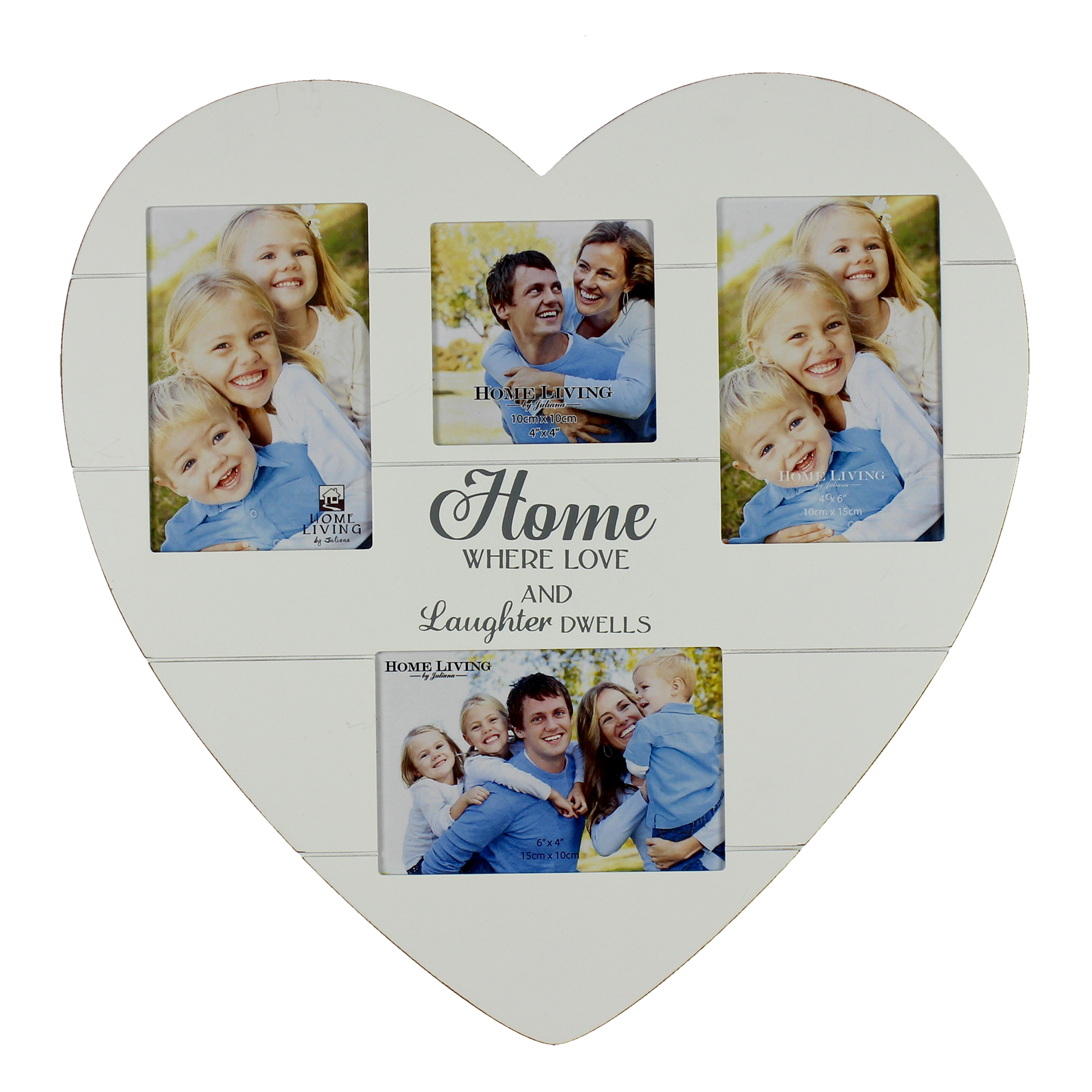 Home Love Laughter Heart Shaped Collage Multi Aperture Photo Frame