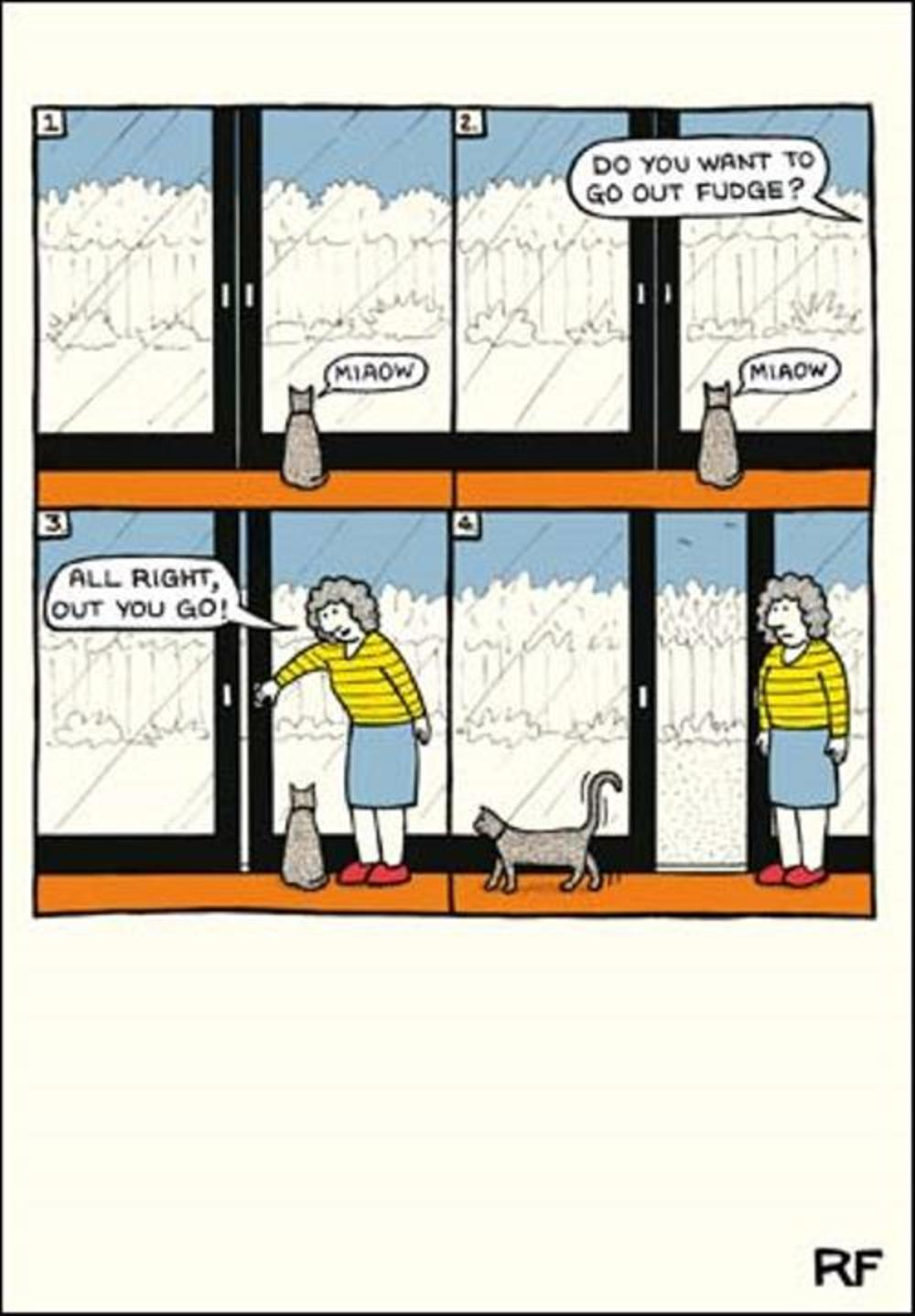 Let The Cat Out Cartoon Cat Humour Greeting Card