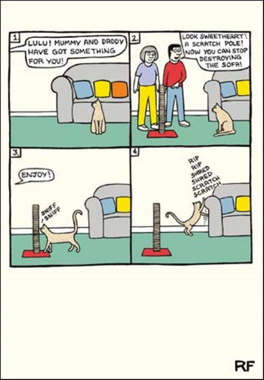 Funny Scratch Pole Cartoon Cat Humour Greeting Card
