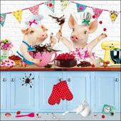 Pigs Baking Square Greeting Card