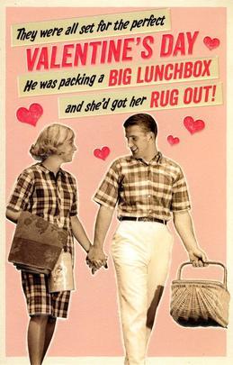 Funny Retro Valentine's Day Picnic Greeting Card