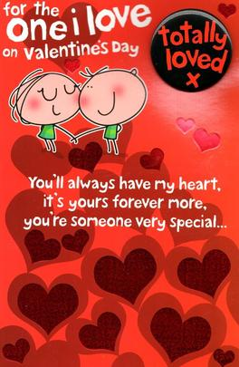 One I Love Valentine's Day Greeting Card With Badge