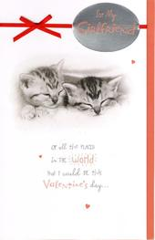 Girlfriend Cute Kitten Valentine's Day Greeting Card