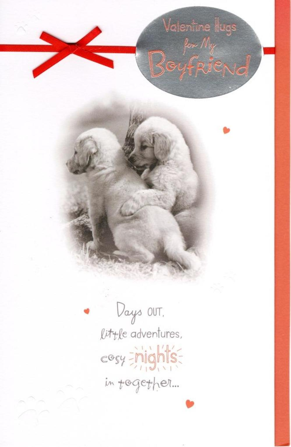 Boyfriend Cute Puppy Valentine's Day Greeting Card