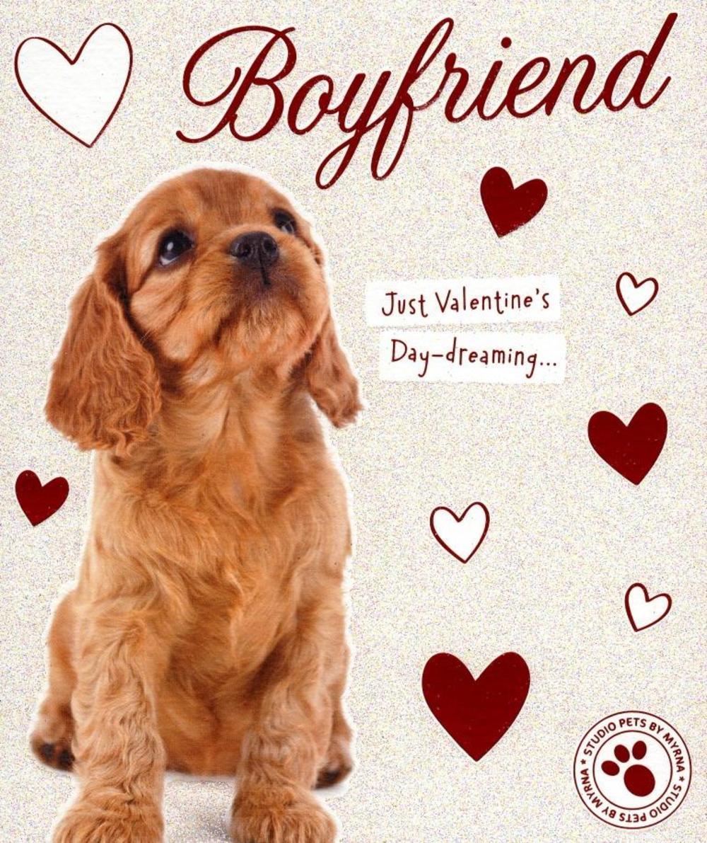 Boyfriend Cute Puppy Dog Valentine's Day Greeting Card