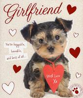 Girlfriend Cute Puppy Dog Valentine's Day Greeting Card