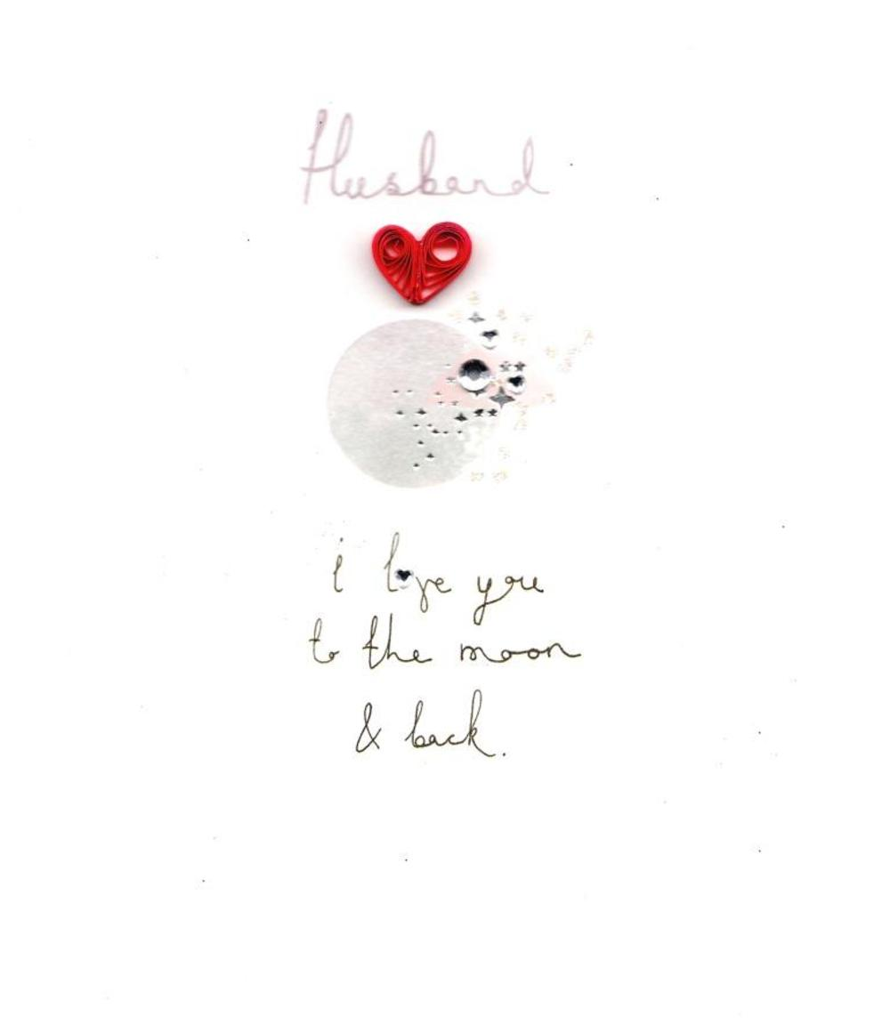 Husband I Love You To The Moon Back Valentines Day Card Cards