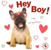 Hey Boy Cute Puppy Dog Valentine's Day Greeting Card