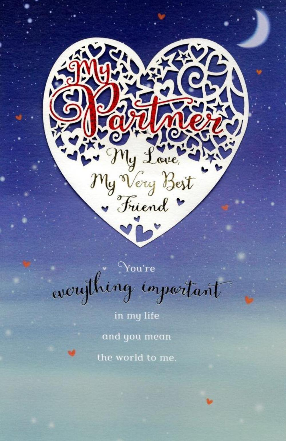 My Partner My Love Embelished Valentine's Day Greeting Card