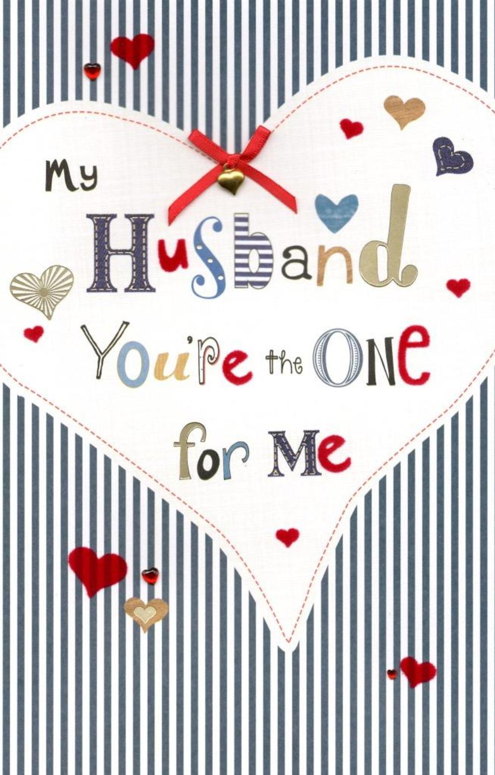 Husband You're The One Embellished Valentine's Day Greeting Card