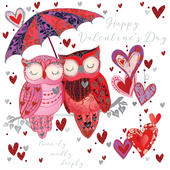 Pair Owls Happy Valentine's Day Greeting Card