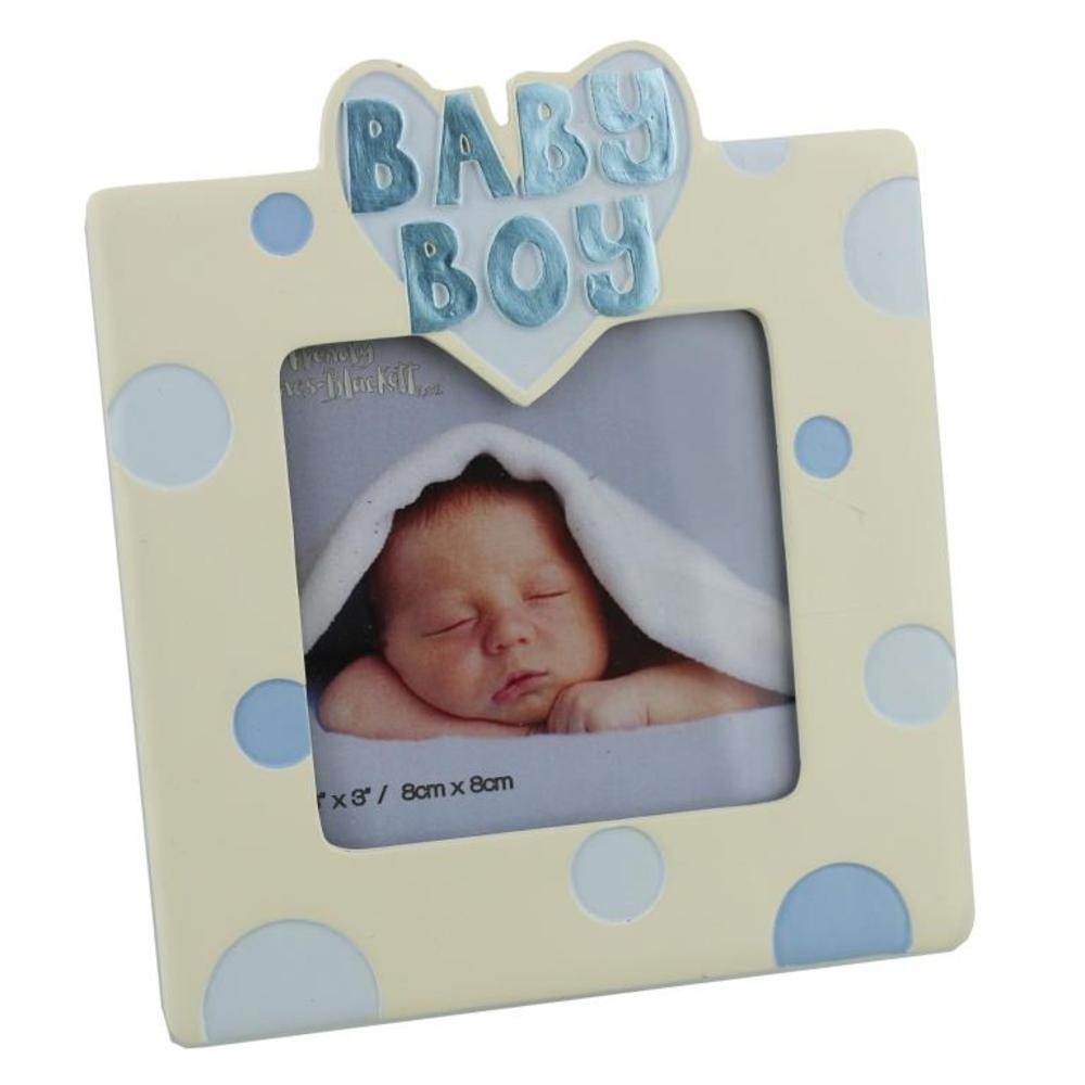 "New Baby Boy 3"" X 3"" Resin Photo Frame"