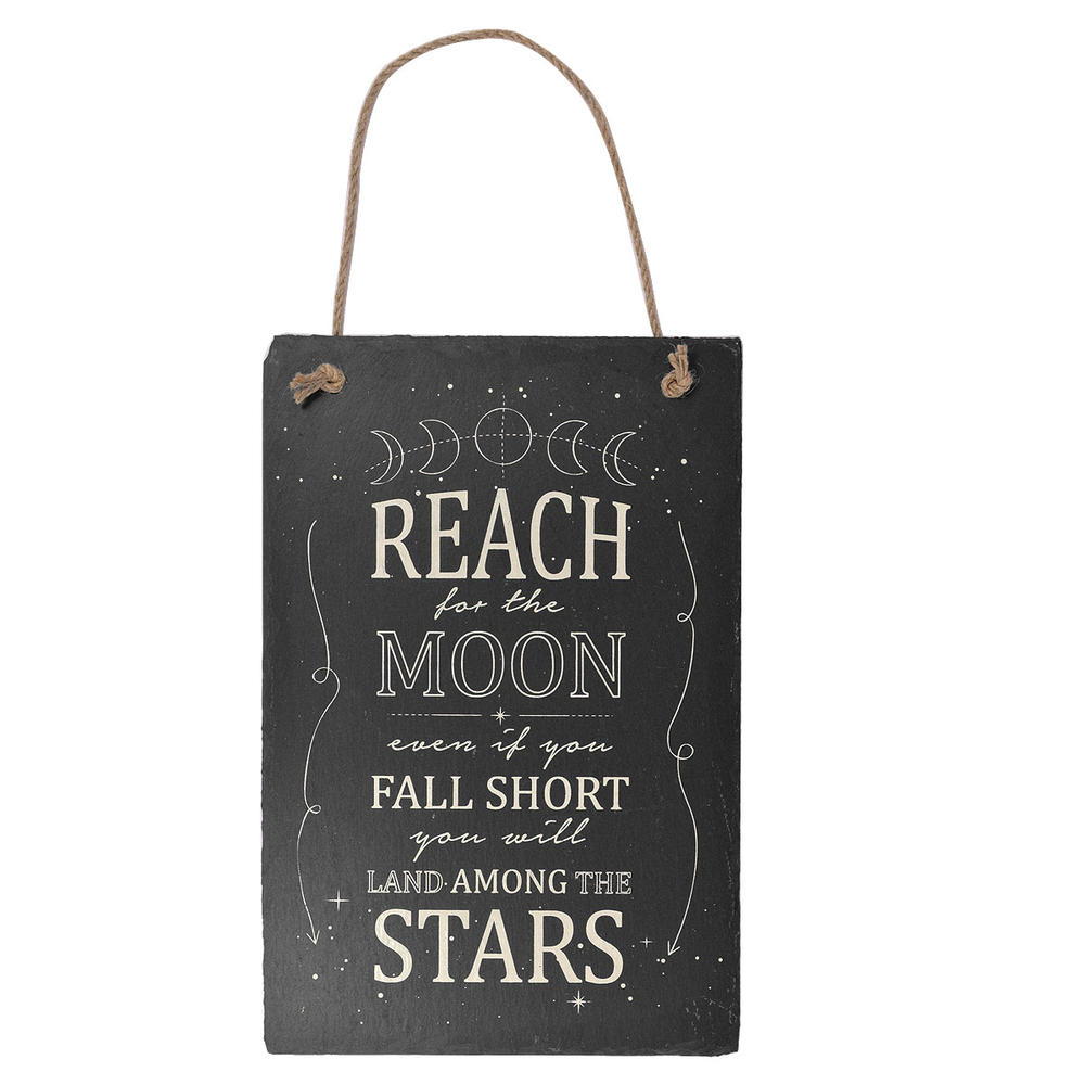 Reach For The Moon Hanging Slate Plaque Sign Gift