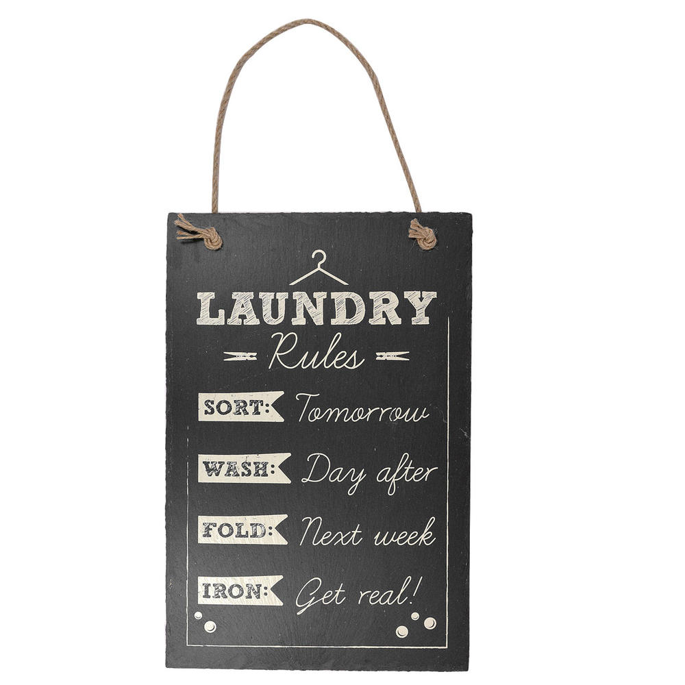 Laundry Rules Hanging Slate Plaque Sign Gift