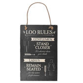 Loo Rules Hanging Slate Plaque Sign Gift