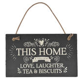 Love Laughter Tea & Biscuits Hanging Slate Plaque Sign