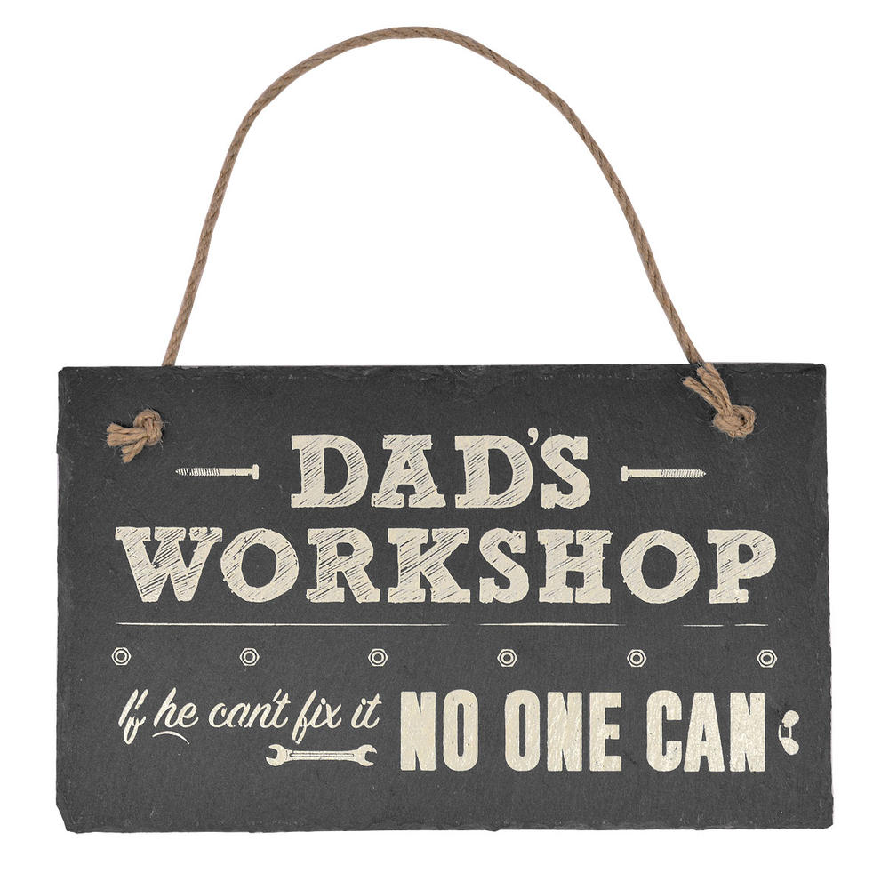 Dad's Workshop Hanging Slate Plaque Sign Gift