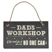 Dad's Workshop Hanging Slate Plaque Sign Gift