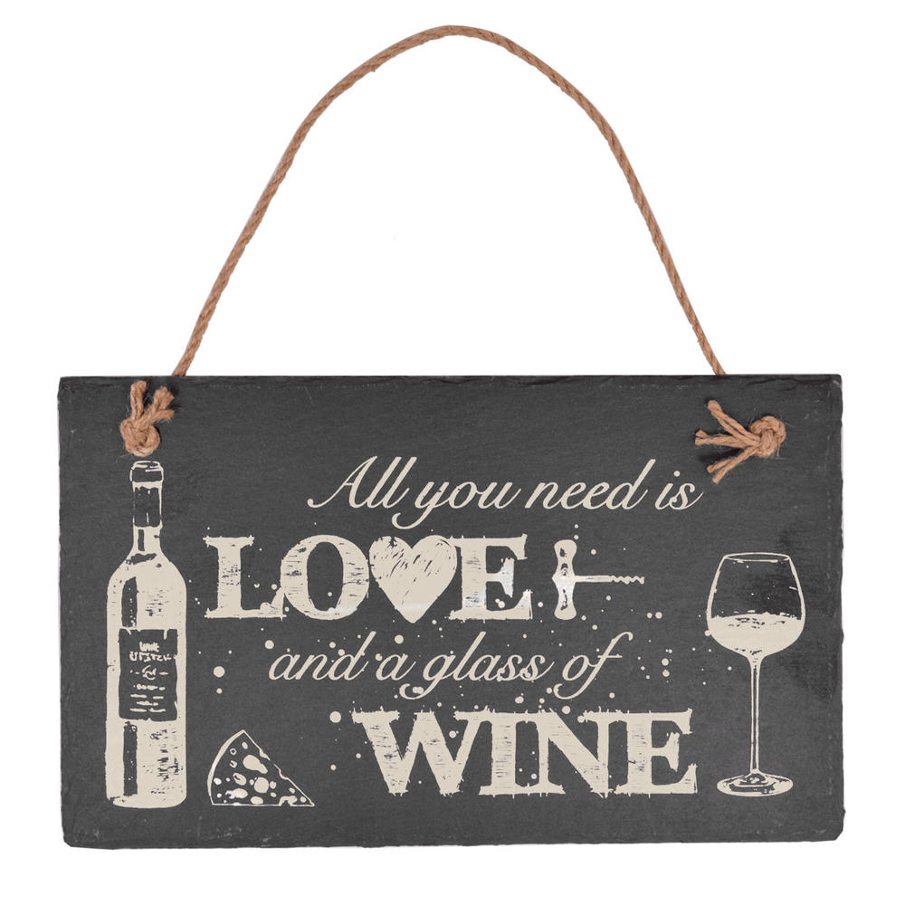 All You Need Is Love & Wine Hanging Slate Plaque Sign