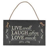 Live Laugh Love Hanging Slate Plaque Sign Gift